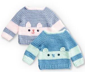 Crochet Pattern Sweet Bear Kitty Cat Baby Sweaterjumper 4 Sizes