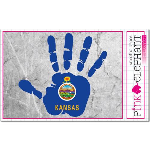 rechte Hand sticker right hand Aufkleber Kansas Handabdruck finger