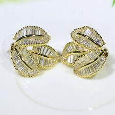 18K Yellow Gold Filled AAA Baguette CZ Women Fashion Jewelry Stud Earrings E2353