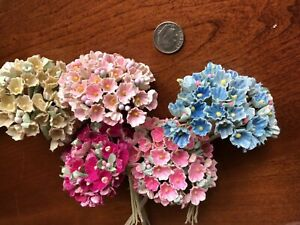 5-bunches-Vtg-Millinery-Flowers-Forget-Me-Not-Pink-Blue-Yellow-Collection-PBY