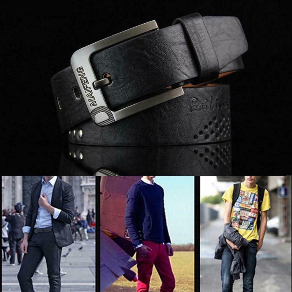Mens Genuine Leather Belt Belts With Classic Silver Black Buckle Best Brown K8F4