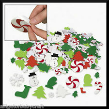50 Foam Winter Christmas Stickers Shapes Kids Crafts Snowman Tree Candy Cane