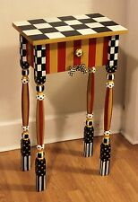 Whimsical Red & Gold Nightstand/Accent Table feat. a mackenzie childs ribbon +