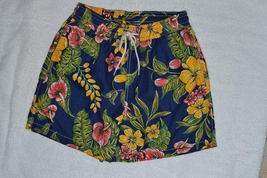 Ralph Lauren Men bluee Hawaiian Print Swim Short Trunks -NWT- Large