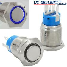 19mm Latching Push Button Power Switch Stainless Steel With Blue Led Waterproof