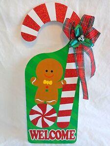 Image is loading Christmas-Door-Knob-Hanger-14-034-WELCOME-GINGERBREAD- & Christmas Door Knob Hanger 14