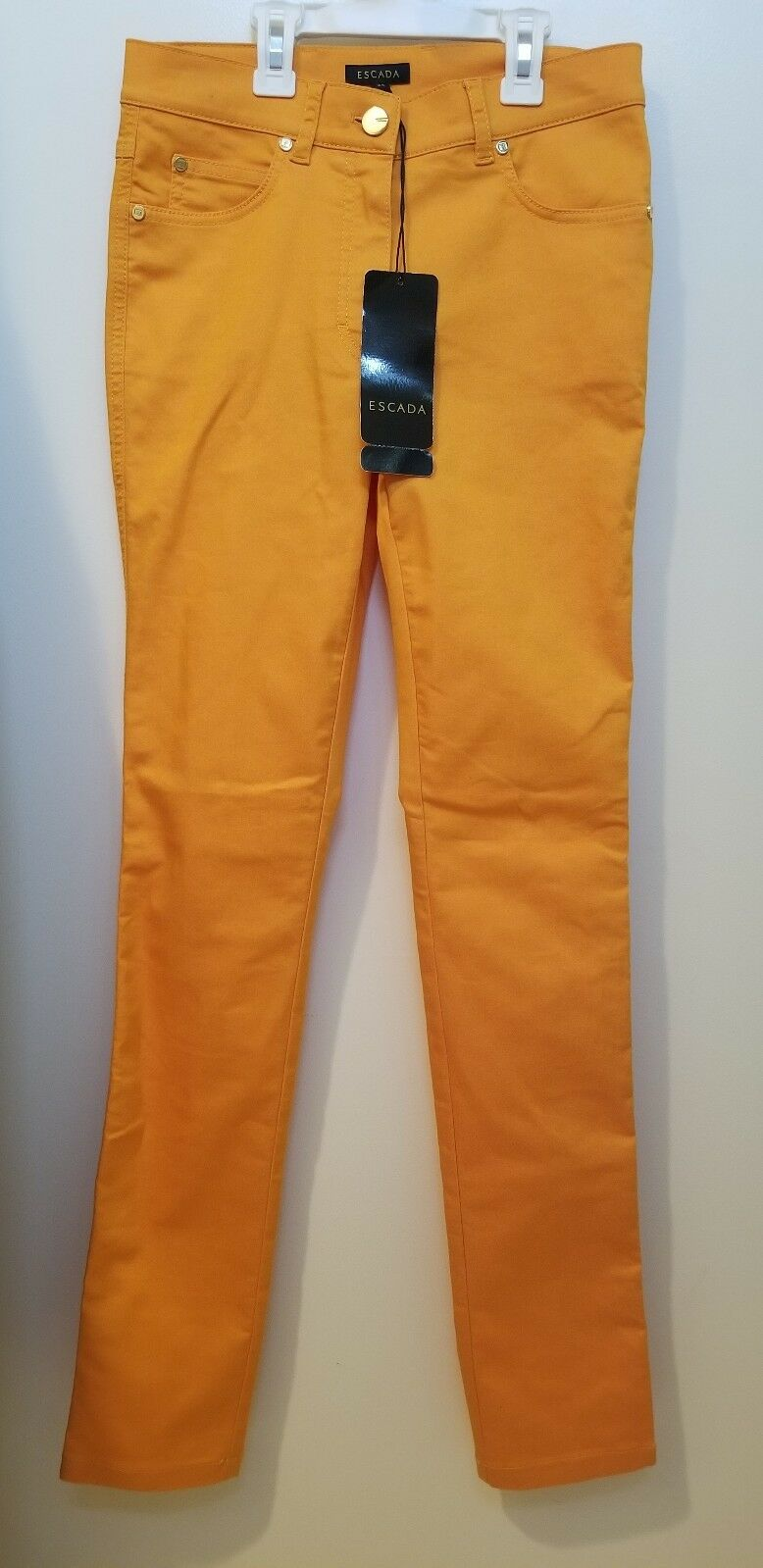 Escada Women's orange Denim Straight Leg Stretch High Rise Jeans Size 34   425