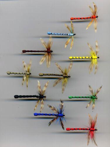 Trout Flies code 368B Adult Damsels x 10  all size 10.
