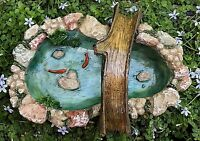 Miniature Dollhouse Fairy Garden Accessories Stone Look Pond W Tree Bridge Koi