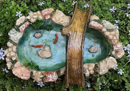 Miniature Dollhouse FAIRY GARDEN Accessories ~ Stone Look Pond w Tree Bridge Koi