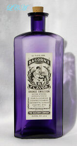 Decorative Arts Faithful Gigantic Antique Embossed & Labeled Pure Purple Extract Bottle Elmira N Y To Ensure A Like-New Appearance Indefinably