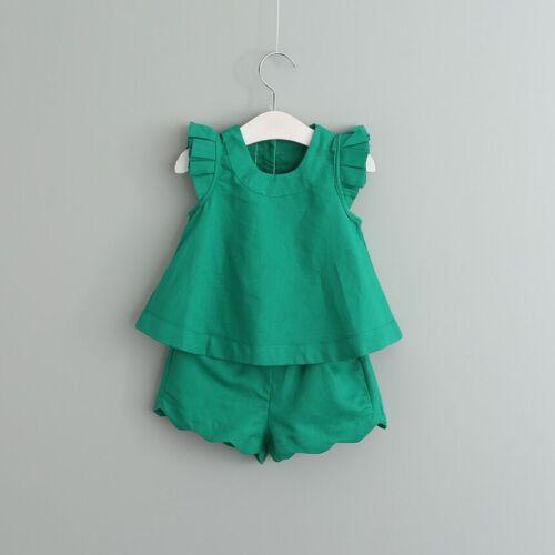 short fashion Vêtements ensembles 2pcs enfants bébé filles tenue d/'été sans manches chemisier