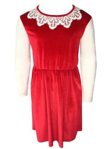 Girls New Velour Velvet Dress Long Net Lace Sleeves Party Christmas Winter Warm