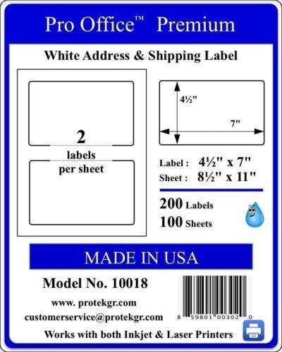 PO18 200 Premium Shipping Labels Self Adhesive Half Sheet 7 x 4.5 PRO OFFICE