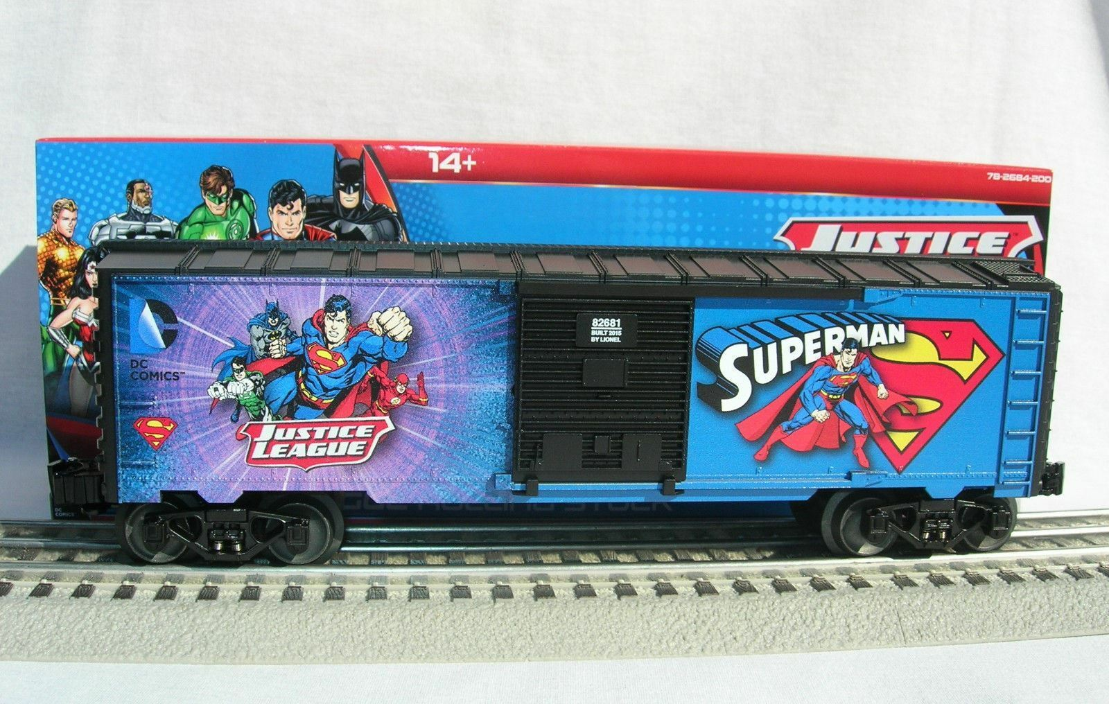 LIONEL 682681 JUSTICE LEAGUE SUPERuomo scatolaauto O GAUGE TRAIN DC COMICS