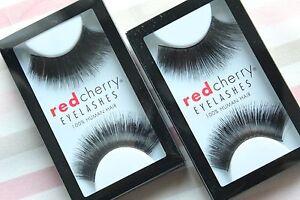 2x-Red-Cherry-HAZEL-199-falsche-kuenstliche-schwarze-Echthaar-Wimpern-strip-lash