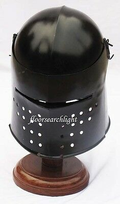 MEDIEVAL EUROPEAN SALLET KNIGHT ARMOUR CLOSE HELMET - REENACTMENT LARP ROLE PLAY