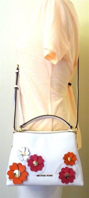 b9f3378fe5b8 Michael Kors Portia Small East West Floral Applique White Leather Satchel  Bag