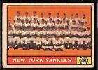 1961 TOPPS BASEBALL NEW YORK YANKEES TEAM CARD MICKEY MANTLE WORLD SERIES 228 VG