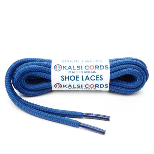 ROYAL BLUE ROUND CORD SHOE LACES STRONG THICK ROPE LACE PAIR SPORT TRAINER BOOT