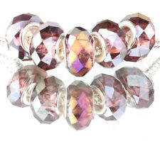 purple AB 5pcs MURANO Crystal bead LAMPWORK fit European Charm Bracelet #F524