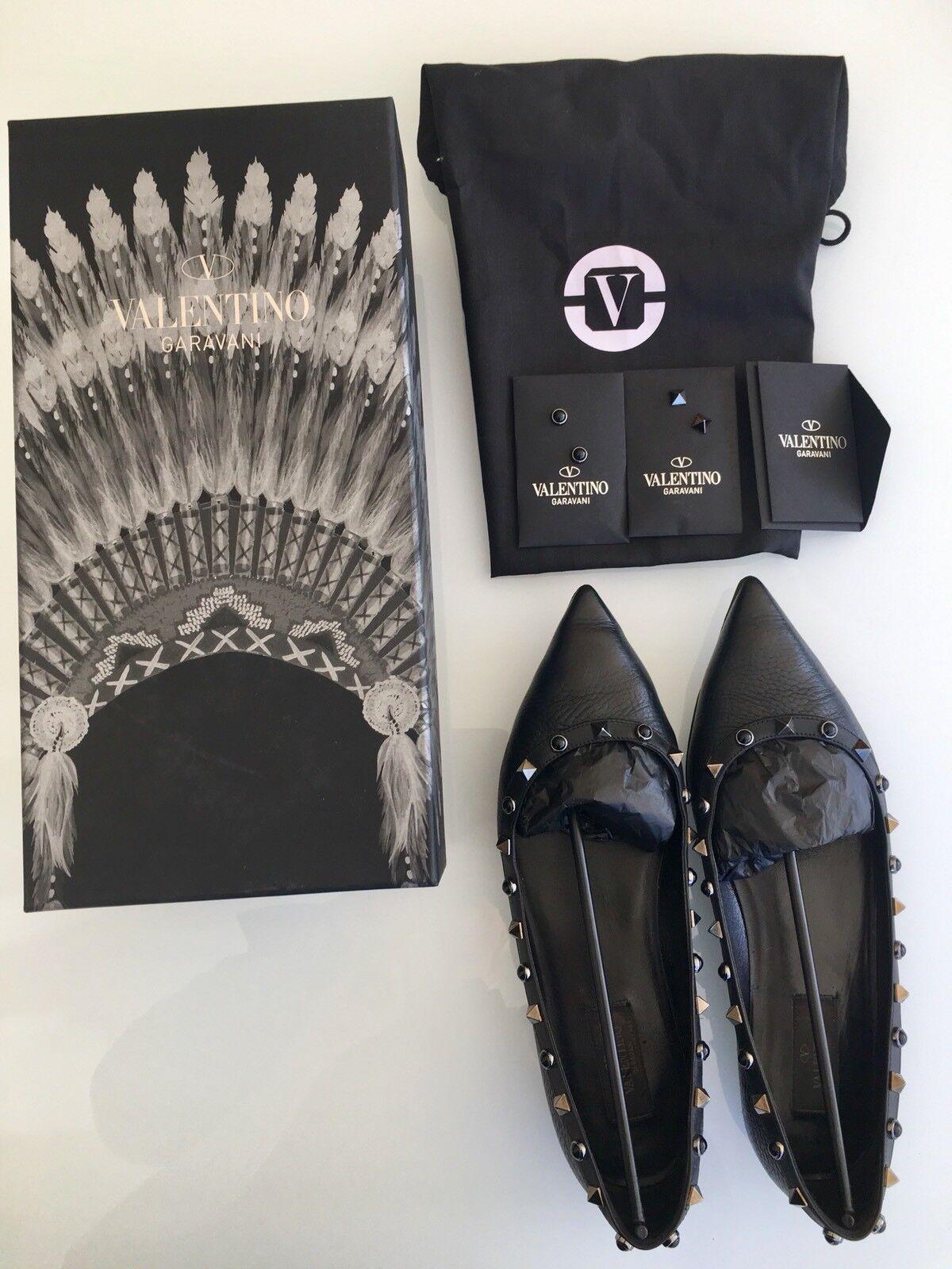 Valentino Rockstud Ballerina Flat Schuhe Gr.39 Schwarz/Nieten Silber
