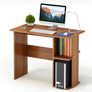 Details About 80cm Small Computer Desk Shelves Corner Wooden Pc Table Home Office Study Strong