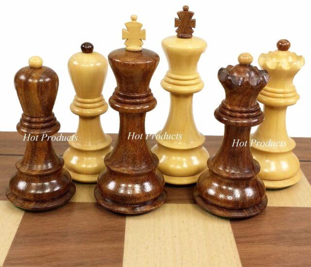 "STAUNTON FRENCH WOOD 3 3//4/"" KING CHESS MEN SET SHEESHAM /& BOXWOOD ** NO BOARD"