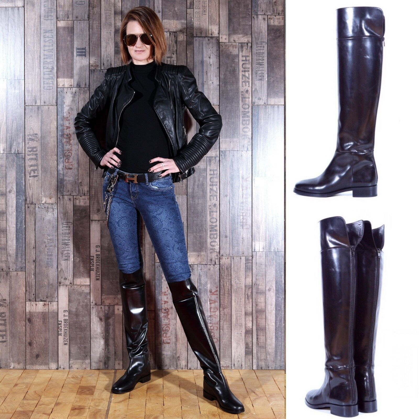 NEW  leather 650£MAURIZIO PORTONI designer over knee leather  riding equestrian Stiefel a5fba8