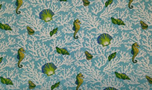 "MILL CREEK KITTERY AQUA BLUE SEAHORSE SEASHELL OUTDOOR FABRIC BY THE YARD 54/""W"