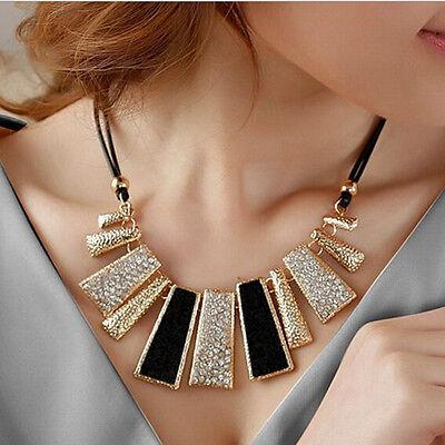 Fashion Crystal Choker Chunky Statement Bib Geometry Pendant Necklace Jewelry