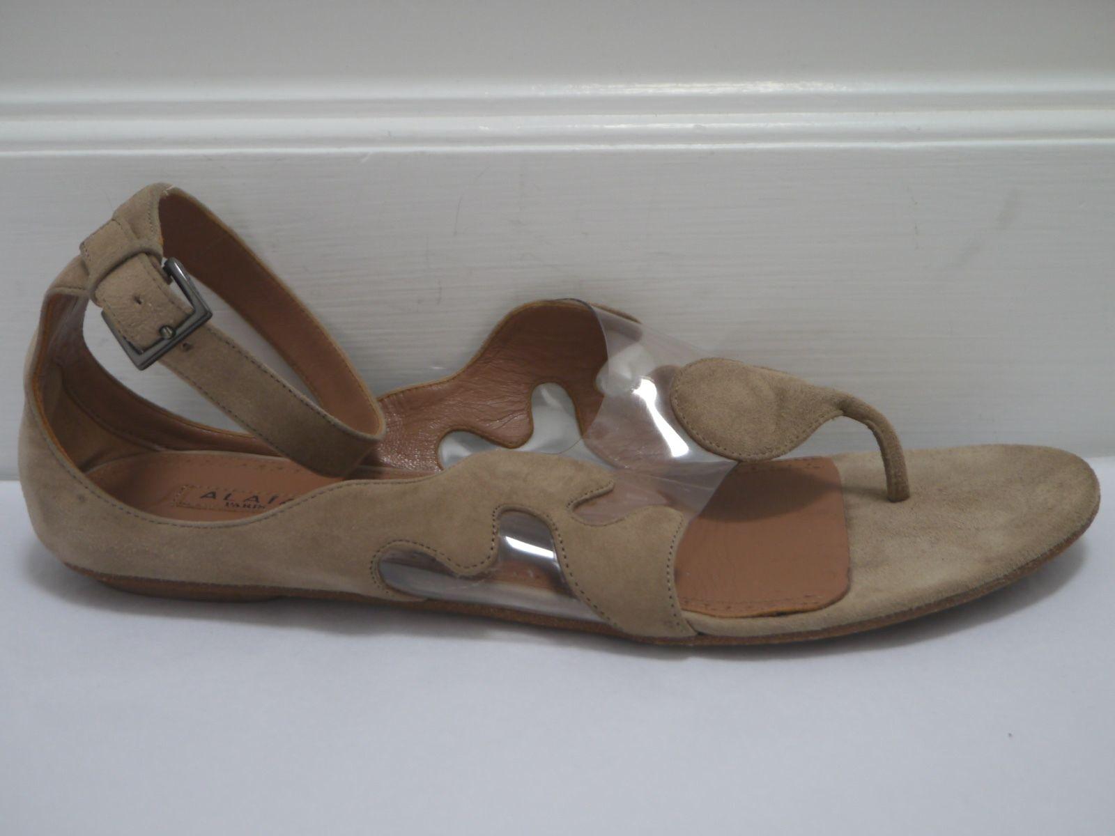 ALAIA  1070 beige suede pvc pvc pvc illusion ankle strap flat sandals sz 39.5 WORN ONCE 596eac