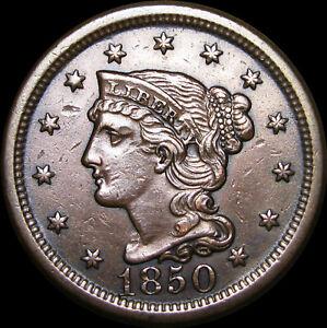 1850 Braided Hair Large Cent --- NICE --- #C141