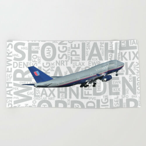 Beach Towel United Airlines Boeing 747 with Airport Codes