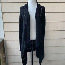 Details about  /Athleta Transit Sweater Wrap Long Cardigan Black//Grey SMALL  #383875