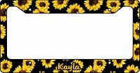 Personalized License Plate Frame Custom Car Tag Sunflowers