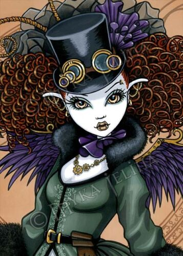 Steampunk Victorian Vampire Angel Temple Myka Jelina CANVAS Embellished ACEO CU