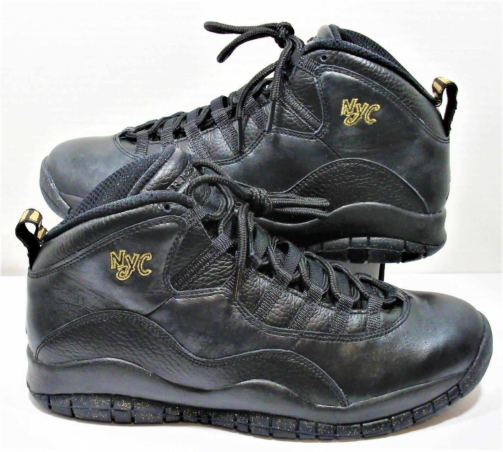 Nike air jordan x 10 vintage new york new york nero & gold uomini sz nuovi 310805 012