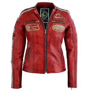 cheap for discount 76959 7eafc Details zu Moderne Damen Lederjacke Bikerjacke Jacke in Rot aus Echtleder  36-46 Neu