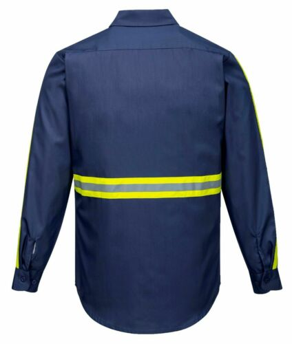 Portwest F125 Iona Xtra Long Sleeve Workwear Shirt with Hi Vis Reflective Tape