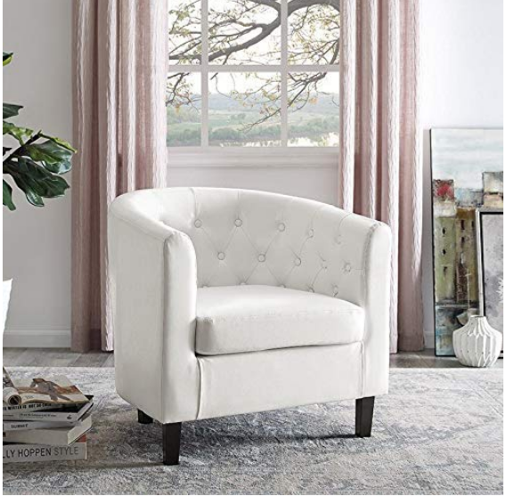 Pleasing White Leather Chair Armchair Club Button Tufted Accent Bedroom Home Office New Dailytribune Chair Design For Home Dailytribuneorg