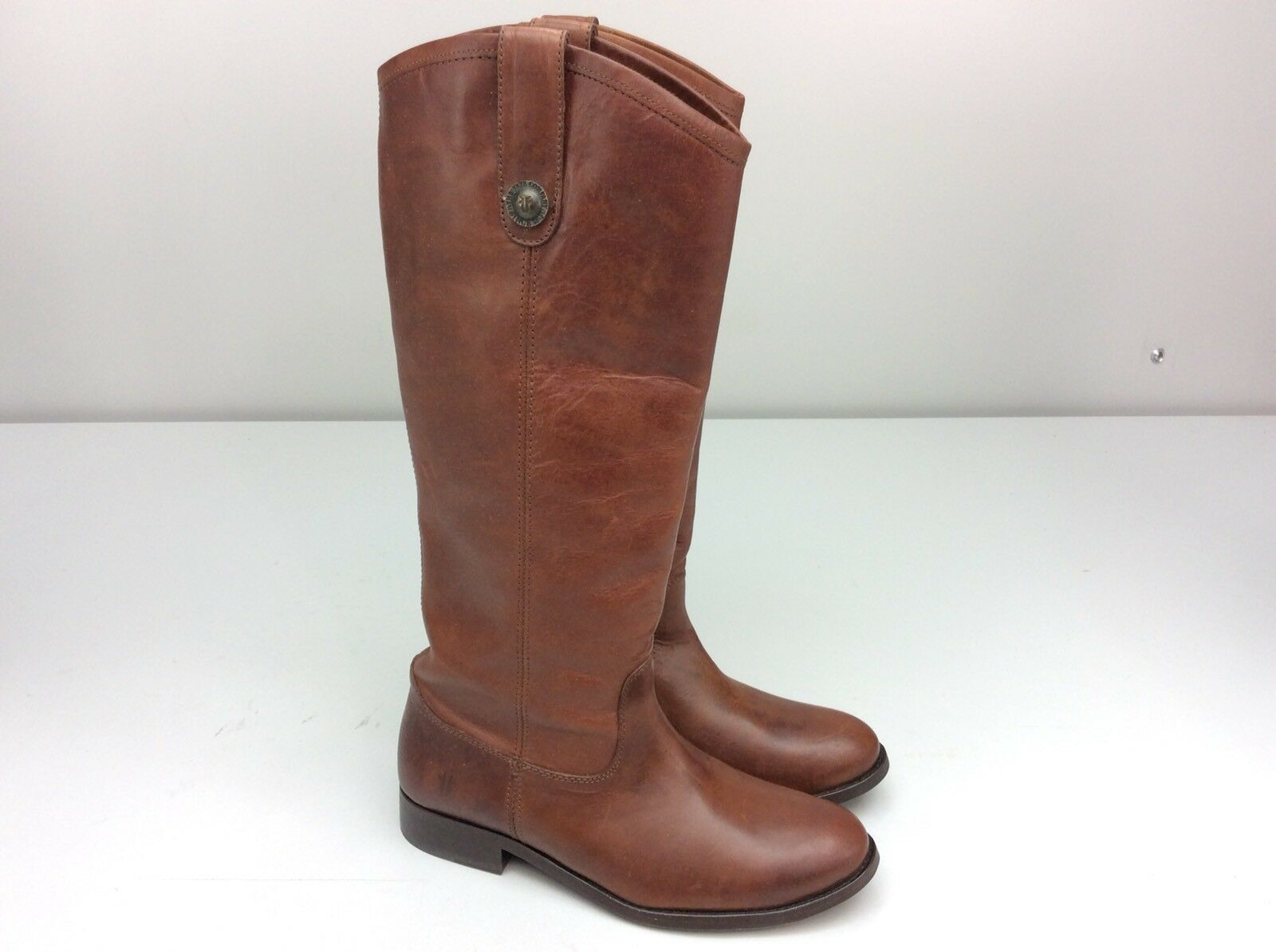 Frye Melissa Button 77167 Cognac Soft Vintage Leather Riding stivali 5.5 cowboy