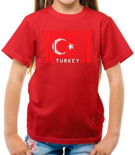 La Turquie Barcode Style Drapeau-Enfants T-Shirt-TURC-pays Travel-drapeaux