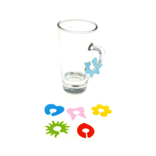 6X Silicone Wine Glass Cup Marker Labels Recognizer Party Drinker Marker Pip  BS