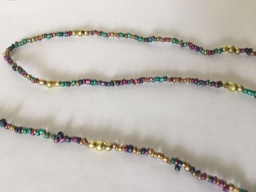 Metal Beaded Eyeglass Sunglass Hanging Cord Multi Colored String W//Gold ends