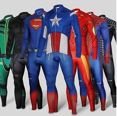 Superhero Spiderman Batman Iron Man long Sleeve Bike Cycling Jersey+Pants Short