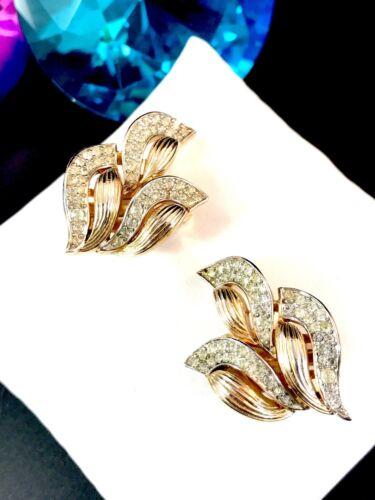 Beautiful Crown Trifari Rhinestone Bracelet Gold Tone Silver Tone Flames