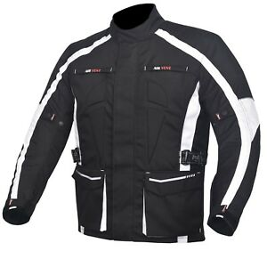 da752bcc0 Details about Men's Motorcycle Motorbike Jacket Waterproof Textile Cordura  CE Armour White