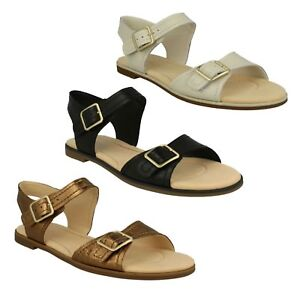 581502ca1ee93f Image is loading LADIES-CLARKS-LEATHER-FLAT-BUCKLE-CASUAL-SUMMER-SANDALS-