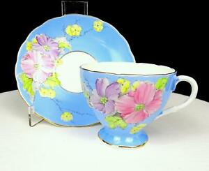 FOLEY-CHINA-E-BRAIN-amp-CO-BEGONIA-BLUE-2-5-8-034-FOOTED-CUP-AND-SAUCER-SET